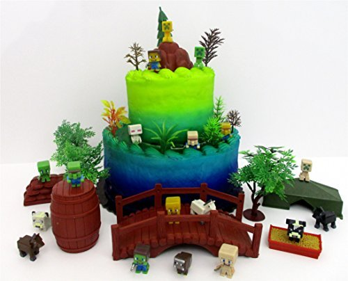 Price comparison product image Minecraft 30 Piece Deluxe Birthday Cake Topper Set Featuring Random MINI Minecraft Figures and Decorative Themed Accessories