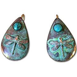 Dragonfly Teardrop Earring - Genuine Turquoise by Elaine Coyne