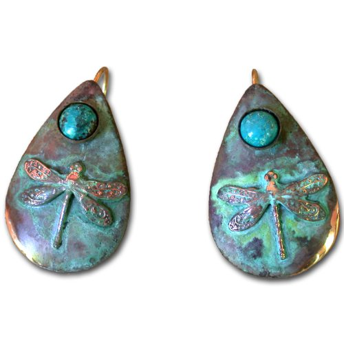 Dragonfly Teardrop Earring - Genuine Turquoise by Elaine ()