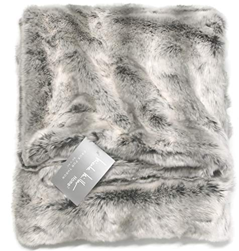 Silver Fur (Nicole Miller Mink Faux Fur Throw, Luxury Plush Blanket in Brown Taupe or Silver Gray (Grey))