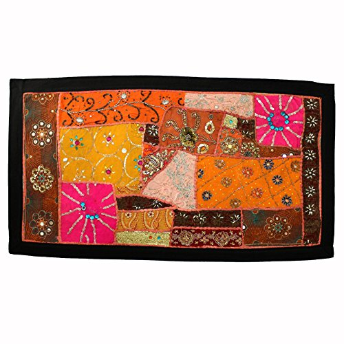 Vintage Embroidered Patchwork Antique Applique Brocade Bead Work Tent Decoration Crafted Art Sequin Work Bohemian Backdrop Indian ()