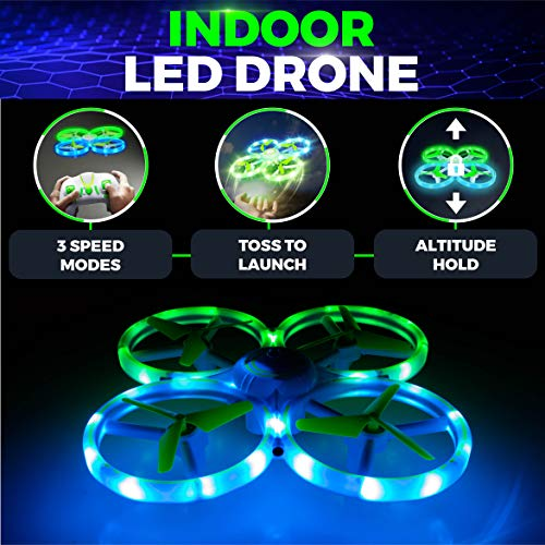 Power Your Fun UFO1 LED Mini Drone for Kids - Small RC Drone for Beginners, Hand Operated Drone with 3 Flying Modes, 3 Speeds, 360 Flips, Altitude Hold, Remote Control, and 2 Drone Batteries