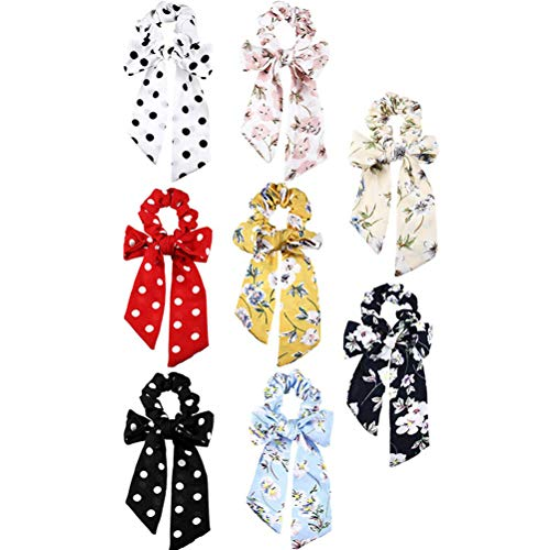 Lurrose - 8 unidades de coleteros elasticos con lazo para el pelo, bufanda, lazos para el pelo, diademas con lunares y flores para mujer