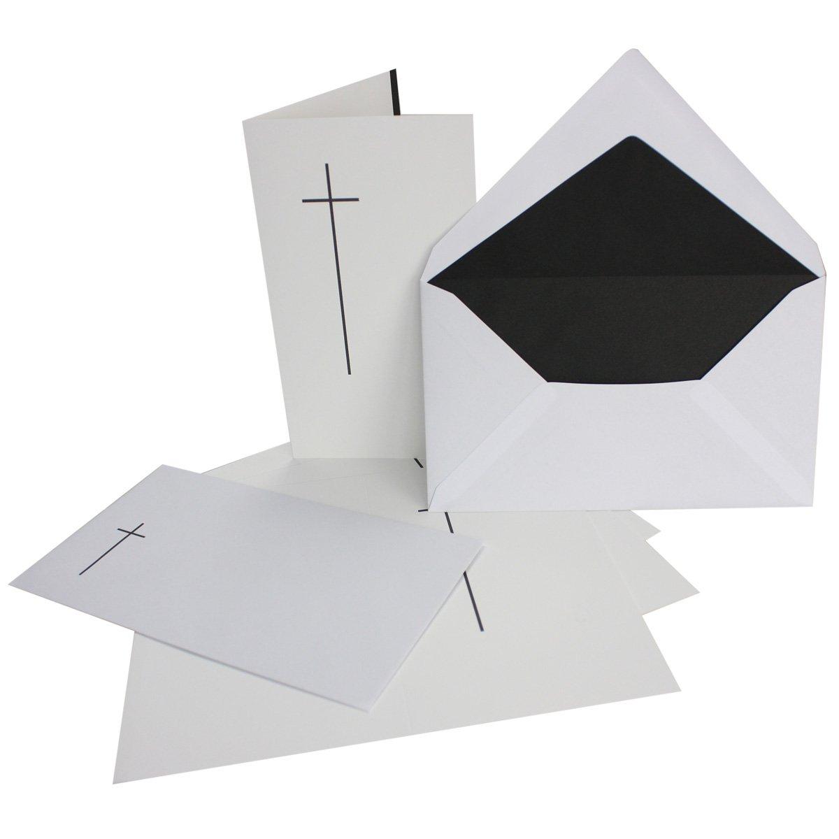 50x Trauerkarten-Set mit Kreuz Kreuz Kreuz ca. B6 11,4 x 19,5 cm & Trauer-Umschlägen mit schlichtem Kreuz & schwarzem Futter, Faltkarten Trauer-Anzeigen B07KW892ZR | Hohe Qualität Und Geringen Overhead  b47be5