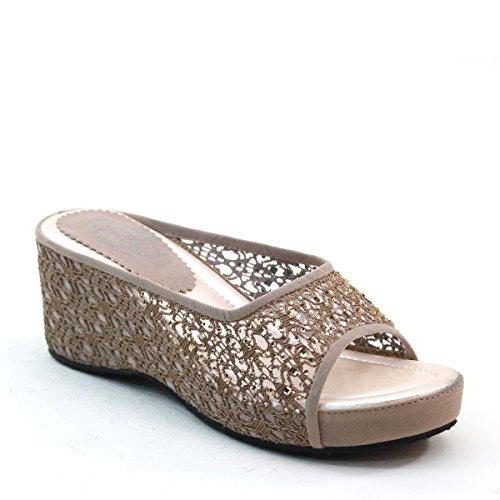 New Brieten Womens Sandali Con Zeppa In Mesh Borchiato Comfort Sandalo Scorrevole Talpa