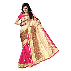 Shilp-Kala Faux Georgette,Brasso Border Worked Beige Colored Saree SK79003A