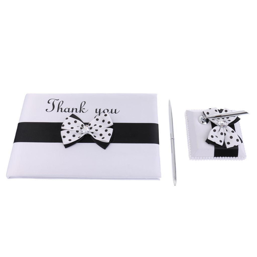 Jili Online Vintage Wedding White Black Polka Dots Crystal Satin Bow Thank You Guest Book Register Guestbook Pen Stand Set Reception