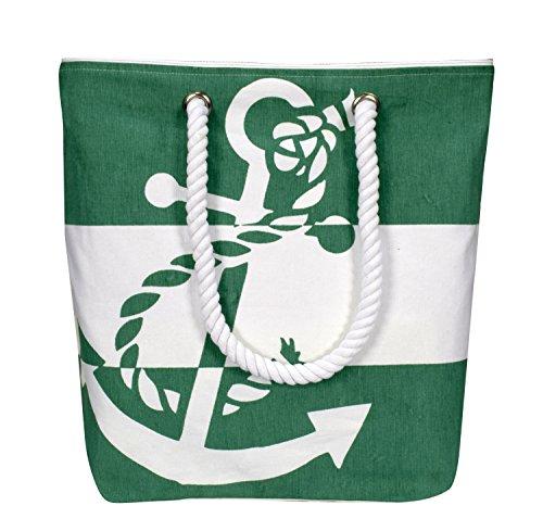 Peach Couture Summer Fashion Chic Anchor Print Canvas Bags Beach Totes Handbags Green
