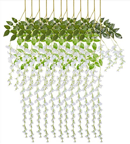 Artificial Flowers Wisteria Wedding Birthday Party Home Garden Decorations Artificial Greenery Fake Hanging Garland Vine Rattan Plants Silk Flowers Gazebo Archway Wall Floral Backdrop Decor 12pcs