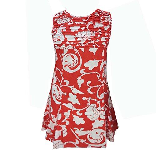 Längen Rot-2 Rundhalsausschnitt Blumendruck Über Für Kleid Baumwolle Aus Kleid Knie Reiner Frauen