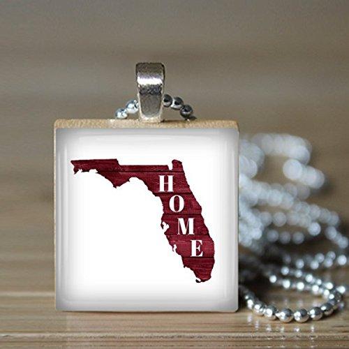 Florida Map Home Scrabble Tile Pendant Necklace - Wearable (Florida Southern Pendant)