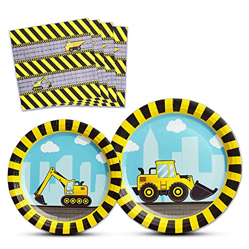 WERNNSAI Construction Party Supplies - Disposable Dump Truck Themed Tableware Set for Boys Kids Birthday Dinner Dessert Plates and Napkins Serves 16 Guests 48PCS Birthday Boy Dinner Plate