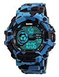 Fanmis LED Digital Display Sports Military Multifunction Waterproof Men Watches Camouflage Blue Pu Strap