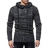 Newbuir Men's Cowl Neck Knit Elasticity Long Sleeve Slim Hooded Sweater Pullover