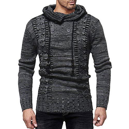 - Newbuir Men's Cowl Neck Knit Elasticity Long Sleeve Slim Hooded Sweater Pullover