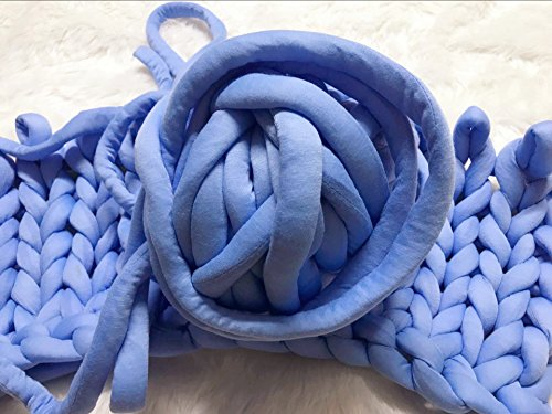 Wholesale Super Chunky Vegan Yarn, Acrylic Bulky Thick Roving Washable Softee Chunky Yarn for Arm Knitting DIY Handmade Blankets (Blue, 120m) by HomeModa Studio (Image #7)