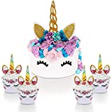 Unicorn Party Decorations Kit for Girls, Unicorn Cake Topper with Eyelashes and Unicorn Cupcake Toppers & Wrappers Set - Birthday, Baby Shower and Wedding