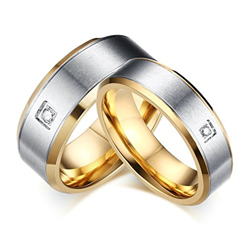 - Beydodo 1PCS Stainless Steel Ring 5 Matte Finished Cubic Zirconia 6MM Width Wedding Rings Womens