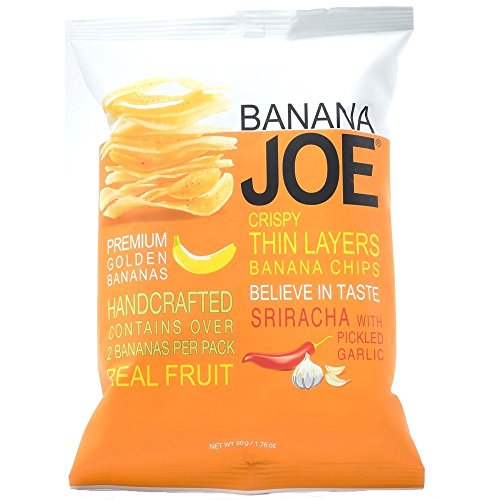 Banana Joe, Crispy Thin Banana Chips, Sriracha with Pickled Garlic, net weight 50 g (Pack of 4 pieces) ()