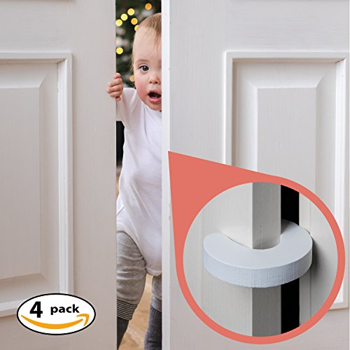 Moreideas Finger Pinch Guard - 4pk. Baby Proofing Doors Made Easy with Soft Yet Durable Foam Door Stopper. Prevents Finger Pinch Injuries, Slamming Doors, and child or ped from getting locked in room.