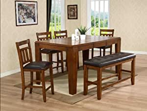 6PC Counter Height Table, Chairs, and Bench Set