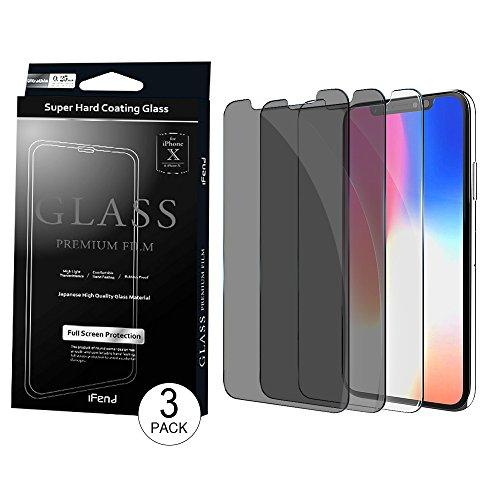 [해외]IFEND 호환 화면 보호기 애플 아이폰 X에 대 한 호환 (HD 클리어 1 팩 및 개인 정보 보호 블랙 2 팩) 안티 스크래치 케이스 친화적 인 / IFEND Compatible Screen Protector Compatible for Apple iPhone X (HD Clear 1 Pack and Privacy Black 2 Pa...