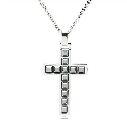 LJSHU Cruz de los Hombres Collar de Diamantes de imitación Negro Colgante Salvaje decoración de Moda