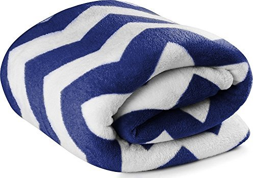 Fleece Navy Fabric Blanket Lightweight