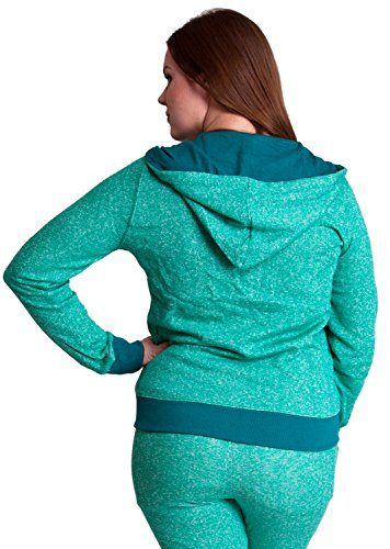 Jade Woman Plus Size Textured Knit Print Front Zipper Pocket Hoodie
