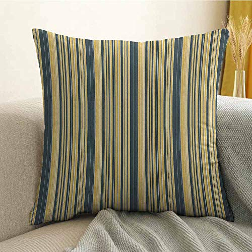 FreeKite Geometric Pillowcase Hug Pillowcase Cushion Pillow Barcode Style Pattern in Retro Colors Straight Parallel Vertical Lines Anti-Wrinkle Fading Anti-fouling W20 x L20 Inch Yellow Dark - Sonora Bar Towel