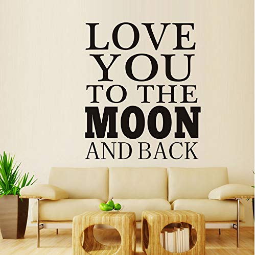 ponana Love You to The Moon and Back Vinyl Mural Art Wall Sticker Decal Classic Movie Lines Sticker DIY Poster for Kid Nursery Children Decoration 58X69Cm