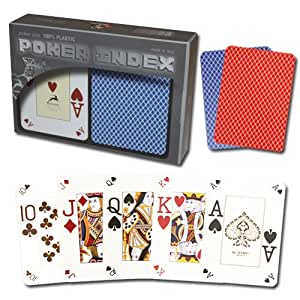 Modiano 100% Plastic Playing Cards - Poker Size Poker Index Red/Blue Set