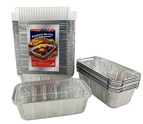 Pactogo 1 1/2 lb. IVC Disposable Aluminum Foil Loaf Bread Pan w/Clear Dome Lid (8'' x 4.1'' x 2.2'') - Heavy Duty Made in USA (Pack of 200 Sets) by PACTOGO