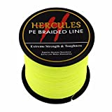 HERCULES 500m 547yds Fluorescent Yellow 6lbs-100lbs Pe Braided Fishing Line 4 Strands (30lb/13.6kg 0.28mm)