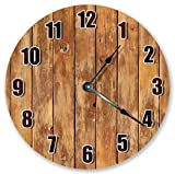 lighted tabletop clock - OSWALDO Vintage Tan Lighted Wood Wall Boards Clock Decorative Round Wooden Wall Clock - 12 inch