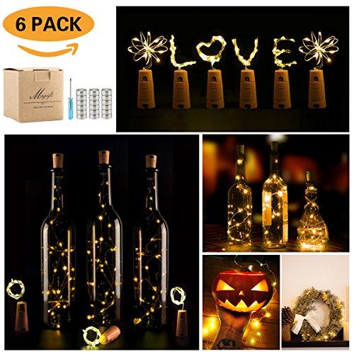 Lager Bottles - Wine Bottle Lights with Cork,LED Cork Lights for Bottle 6 Pack,Copper Wire Bottle Lights for DIY, Party, Decor, Christmas, Halloween,Wedding(Warm White)