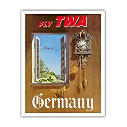 Pacifica Island Art Germany - Fly TWA (Trans World Airlines) - German Black Forest Cuckoo Clock - Vintage Airline Travel Poster by William Ward Beecher c.1952 - Fine Art Print - 11in x 14in