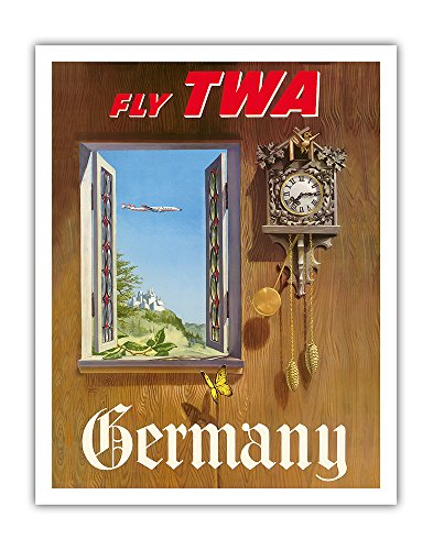 Germany - Fly TWA (Trans World Airlines) - German Black Forest Cuckoo Clock - Vintage Airline Travel Poster by William Ward Beecher c.1952 - Fine Art Print - 11in x 14in (Reproduction Cuckoo Clock)