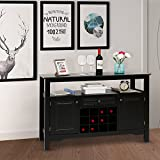 Kinbor Sideboard Cabinet Wine Storage Wine Cabinet Table Big Storage Useful Buffet Table Kitchen Furniture, Black