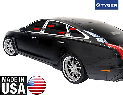 Made In USA! 2011-2015 Jaguar XJ 8PC With Diagonal And Triangle Piece Stainless Steel Chrome Pillar Post Trim by MaxMate