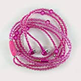 MAZIMARK--Pearl Beads Necklace Stereo Earphones 3.5mm Women's Earbud Fashion Accessory (pink)