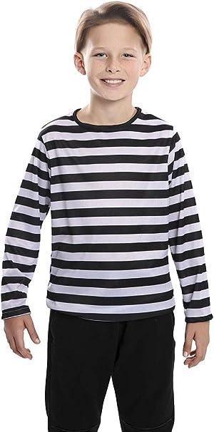 Camiseta con rayas negras y blancas para niños: Amazon.es: Ropa y ...