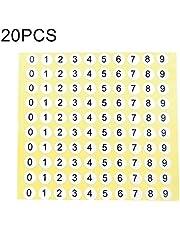 Etiqueta de tamaño de zapato de forma redonda de 20 PCS número pegatina, número 0-9, El embalaje conveniente