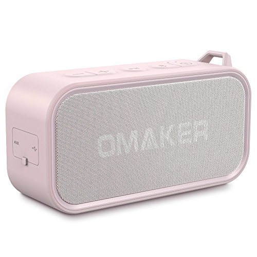 Portable Bluetooth Speakers for Woman,Omaker M6 Waterproof Wireless Stereo Speaker with Dual-Driver, Crystal Clear Sound, TWS and Premium Bass (Pink Color)