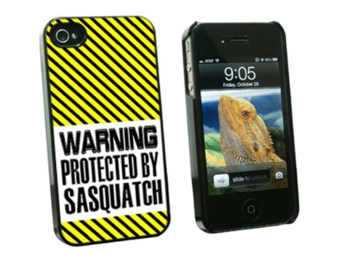 Graphics and More Warning Protected By Sasquatch - Snap On Hard Protective Case for Apple iPhone 4 4S - Black - Carrying Case - Non-Retail Packaging - Black