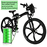 Electric Folding Mountain Bike with 26″ Super Lightweight Magnesium Alloy 6 Spokes Integrated Wheel, Large Capacity Lithium-Ion Battery (36V 250W), and Shimano Gear (Black)