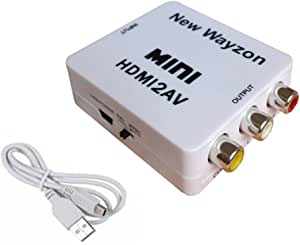 New Wayzon HDMI to RCA Composite AV+ Audio Toslink Spdif Coax Mini Converter for TV/PC/PS3/Blue-Ray DVD 1080P(White)