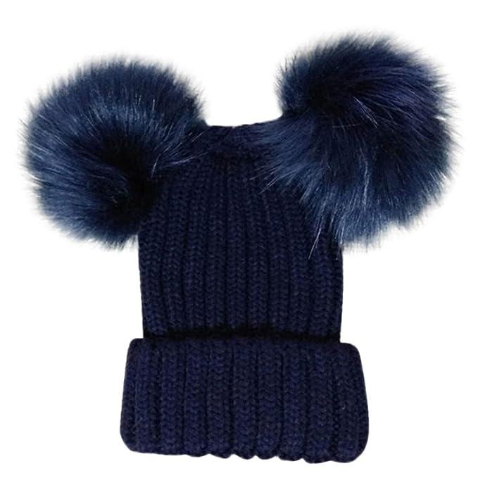 ODJOY-FAN-bambino inverno Tenere caldo Doppia palla Cappello lavorato a  maglia-Ragazzi 28bdf74df630