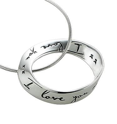 Amazon i love you i love you more pendant necklace eternity i love you i love you more pendant necklace eternity sterling silver christmas gift 18 aloadofball Choice Image