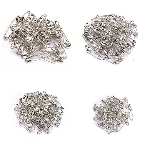 BENECREAT 350PCS Premium Quality 4-Size Pack of Safety Pins Safety Pins Pack, Best Sewing Accessories Kit for Baby Clothing, Crafts & Arts